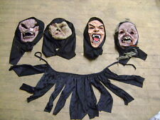HALLOWEEN PROP HAUNTED HOUSE SET OF HOODED MASKS SET 4