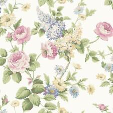 Wallpaper Cottage Floral Vine Rose and Wisteria Multi Color on White Background