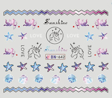 Nail Art Decals Transfers Stickers Unicorns Sunshine Love (DB642)