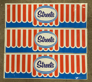 SET OF 3 X STREETS ICE CREAM Genuine Vintage Milk Bar Window Decal Stickers NOS