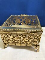 Vintage Gold Ormolu Jewelry Trinket Box Square Footed Filigree Dresser Case