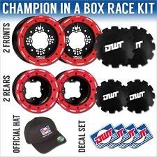"DWT Red Champion in a Box 10"" Front 9"" Rear Rims Beadlock Rings Banshee YFZ350"