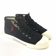 Polo By Ralph Lauren Size UK10.5 Black Canvas Logo Hi Top Lace Up Boots Trainers