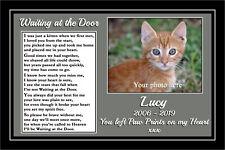 Personalised Pet Cat Memorial Print Waiting at the Door verse Rainbow Bridge