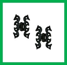 Cast Iron Black Antique Butterfly Snake Cabinet Door Hinges Pair & Screws (1493)