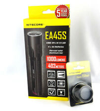 Nitecore 1000 Lumen LED EA45S With 34mm Filter Protector Flashlight Black  EDC