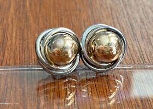 Vintage PETER BRAMS DESIGNS Modernist 14K Gold Sterling Silver Earrings Pierced