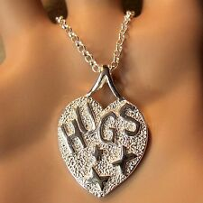 new sterling silver heart with huggs & kisses pendant & chain