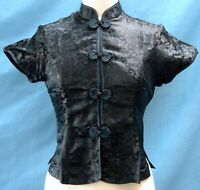Classic Asian Brocade Blouse Cap Sleeves - Black Dragon / Teal Piping  - Size L