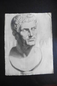 FRENCH SCHOOL 19thC - STUDY CLASSICAL FIGURE - IMPRESSIVE CHARCOAL DRAWING