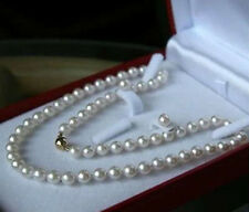 """8MM White Akoya Shell Pearl Hand Knotted Necklace Earrings Jewelry Set 18"""" AAA+"""
