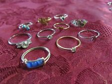 Silver & Gold Girls Crystal & Stone Fashion Rings Lot of 10 Assorted