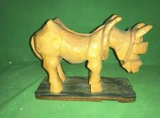 Vtg Hand Carved Wood Work Donkey or Mule Sculpture By Jay'L 7�