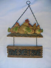 COUNTRY ROOSTER CHOOK HOME SWEET HOME WALL SIGN PLAQUE
