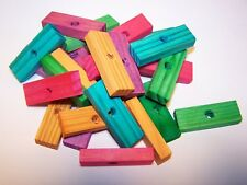 """25 Wood Blocks 2"""" x 1/2"""" x 1/4"""" Colored Wooden Parrot Bird Toy Parts 1/4"""" Hole"""