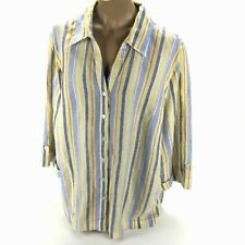 JM Collection Women's Multicolor Striped Long Sleeve Button Down Shirt Linen 22W