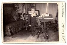 Cabinet Photo - Boy with Horse Cart Pull Toy 1880  Mound City SD Fort Yates ND