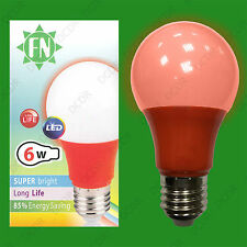 4x 6W LED Red Coloured GLS A60 Light Bulb Lamp ES E27, Low Energy 110 - 265V
