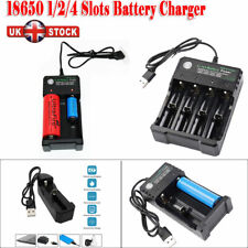 UK 1/2/4 Slots USB Charger 18650 Batteries Li-ion Rechargeable Battery Charge