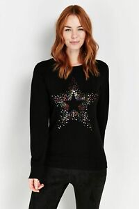 Wallis Womens Black Rainbow Star Print Jumper Knitwear Sweater Pullover Top