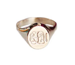 Silver Large Signet Ring Men Engraved Ring Monogram Father Day Gift