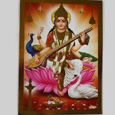 Altarbild Sarasvati, Prägedruck Indien Hinduismus  Bild Guru Om Puja 21