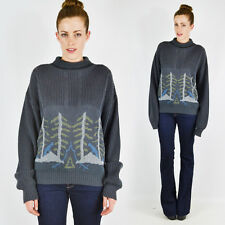 Vtg 80s Forest Camping Scene Novelty Print Cable Knit Oversized Sweater S M L XL