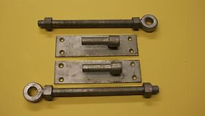 gate hinge hook on plate with 2 eye bolts and plates in galvanized 3/4 inch pin