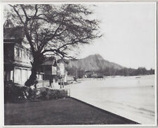 "WAIKIKI BEACH WALK OAHU 1920's? HAND PRINTED B & W PHOTOGRAPH ON 8X10"" MATT"