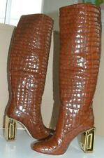 TORY BURCH Jessa Crocodile Leather Boots High Gold Chunky Heels New 7 $1100!!