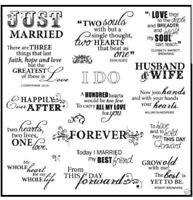 FISKARS Clear Stamps JUST MARRIED 8x8 Set 19 PIECE HUGE