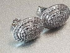 VINTAGE SOLID 14K WHITE GOLD EARRINGS WITH NATURAL DIAMONDS ENCRUSTED-1980