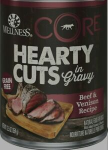 Wellness Core Hearty Cuts Beef & Venison Dog Food 12Count 12.5oz Exp:12/2023