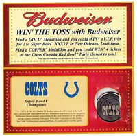 BALTIMORE COLTS BUDWEISER NFL SUPER BOWL COMMEMORATIVE MEDALLIONS SILVER CARD