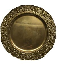 """Vintage Brass 14"""" Tray Platter Made In India"""