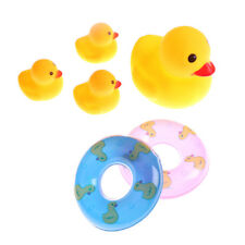 4pcs Rubber Ducks With 2pcs Swimming rings Shower Bath Floating Baby Kids ToySC