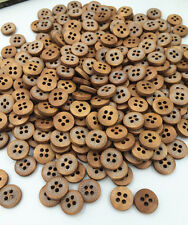 100PCs Wood Buttons Sewing  4 Holes Round  Clothing accessories 12mm Approx