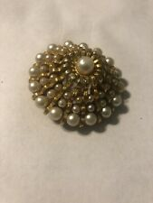Vintage FLORENZA signed PEARL Gold filigree PIN brooch Seed Pearls Graduated