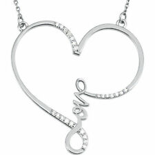"Diamante ""Amor"" Corazón infinity-style 45.7cm Collar en 14k ORO BLANCO (1/8 ct."