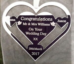 WEDDING GIFT PRESENT, HEART SHAPE PERSONALISED WITH SURNAME BRIDE AND GROOM