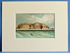 STAFFA FINGALS CAVE RARE SUPERB QUALITY ANTIQUE MOUNTED CHROMO PRINT c1890 8X6