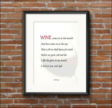 Home decor, WB Yeats, quotation, WINE, inspirational, art print poster, A4, A3