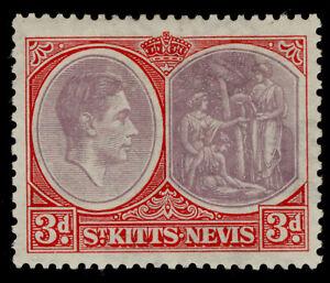 ST KITTS-NEVIS GVI SG73, 3d dull reddish purple & scarlet, M MINT. Cat £28.