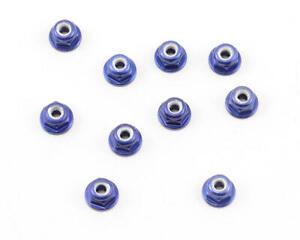 Team Associated Factory Team 3mm Aluminum Flanged Locknut (Blue) (10) [ASC25392]