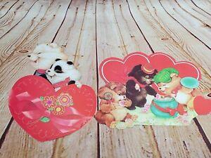 "2 Vintage Eureka Die Cut Valentines Day Decorations Personality Bears 10""-12"""
