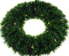 Large Green Craft Christmas Wreath - With LED Battery Operated lights -  Add Dec