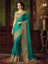 Bollywood Indian Firozi Saree Sari Bridal Wedding Pakistani Saree Party Wear New