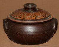 Details about  Vintage folk hand made redware pottery lidded pot