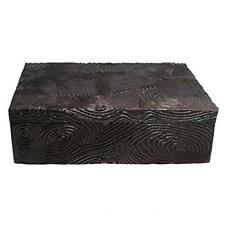 Natori Wood Grain Decorative Metal Box Brown Aluminum Home Decor Large msrp $200