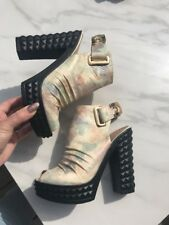 Camouflage Real Leather Platform Cubic Heels Uk4
